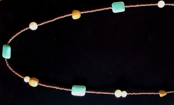 Turquoise Tan Jasper Long Necklace / Pictured Jasper and Turquoise and Pearl Necklace / Hippie Necklace / Boho Jewelry /NS61010