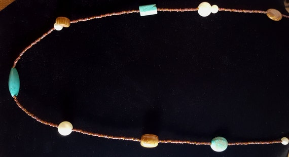 Turquoise Tan Jasper Long Necklace / Pictured Jasper and Turquoise and Pearl Necklace / Hippie Necklace / Boho Jewelry /NS61012