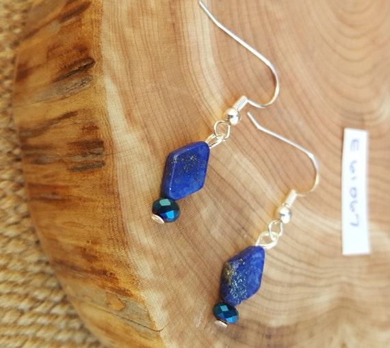 Lapis Lazuli Blue Earrings / Lapis Lazuli Earrings / Navy Blue Earrings / Dangle Earrings / Hippie Earrings / Boho Jewelry /E61067