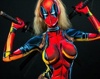 Lady Deadpool Bodypaint 8.5x11 Print