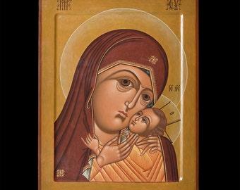 """The Virgin of Korsun.Icon Russian orthodox.  Icon handpainted on wooden panel 11,8"""" х 15,7"""" х 1"""""""