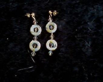 Grey Gold Shell, Smoke AB earrings
