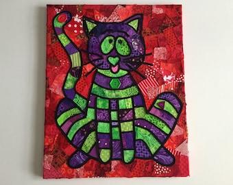 Kitty Cat Purple Green Red