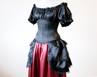 50% OFF Victorian costume Gothic dress Vampire costume Halloween Steampunk clothing Masquerade dress black corset gown got potc fantasy larp