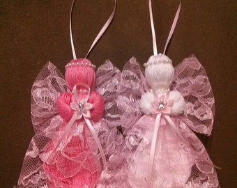 String Angels - Breast cancer awareness - angel ornament - string ornament