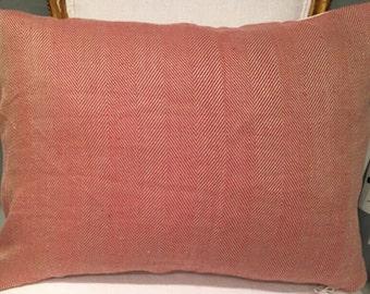 Rogers & Goffigon red herringbone 14x20 pillow with velvet back and stuffer