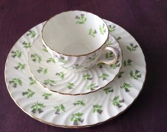 Vintage Aynsley English Bone China Tea Cup Saucer Dessert Plate Scottish Thistle, set 3 pcs
