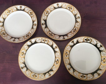 1911-1921 Nippon Porcelain Dessert Plates, Black on White with Raised Gold, 4 PCS