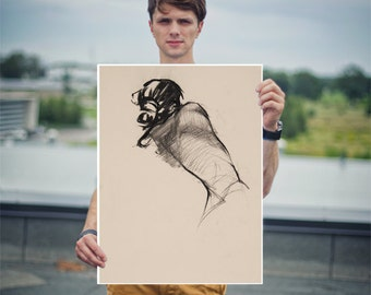 Charcoal Life Drawing Print