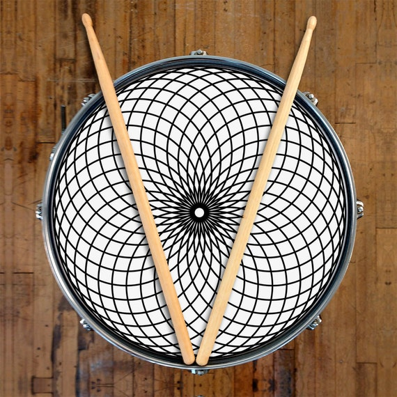 drum skin for bass snare and tom drums geometric black and. Black Bedroom Furniture Sets. Home Design Ideas