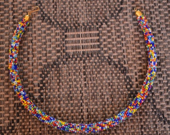 African Multicolor Maasai Rope beaded neckline/necklace, Masai hand made necklace