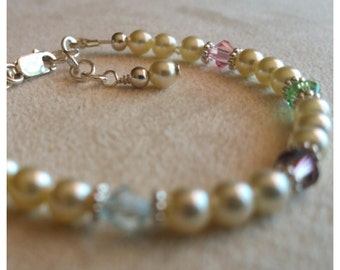 Sterling Silver Bracelet with Swarovski Crystals and Pearls