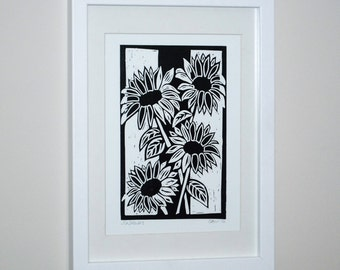 Sunflowers, Linocut Original Relief Print