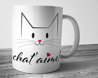 """Pretty Cup """"cat"""" love """", I love you, Valentine, coffee, tea, gift for lovers of cats, friendship, couple, kitten"""