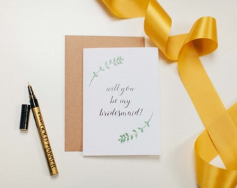 Will You Be My Bridesmaid [Greenary] - Wedding Day Card