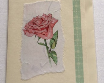 Handmade Rose blank greetings card.