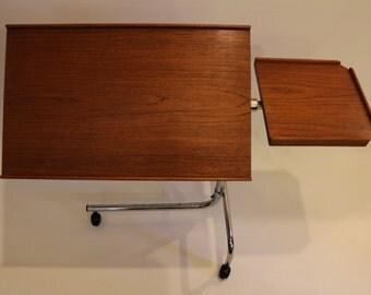 Danish Modern Teak Rolling Tray Table by Danecastle