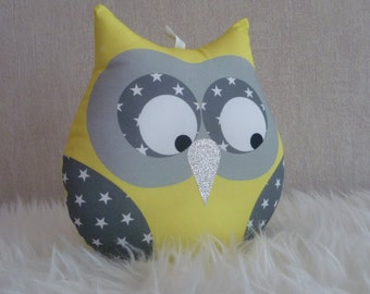 Starry yellow musical OWL cushion