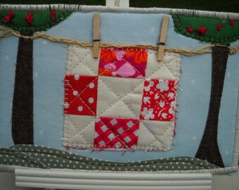 Quilt on a Line Quilted Fabric Postcard