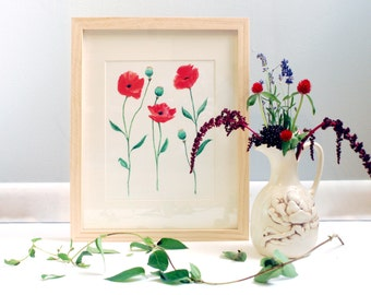 Red Poppy Flower Print