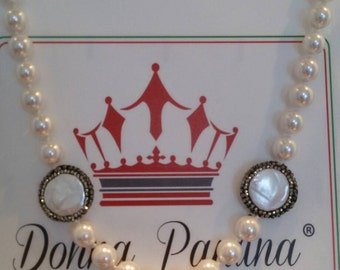 Pearl White-Pearl inserts and small Majorca black rhinestones