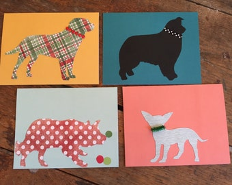 Dog Silhouette Greeting Cards (16) - set of 16