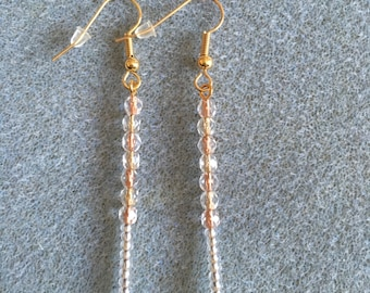 gold inlay long drop earrings