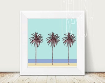 PALM TREES ILLUSTRATION | Wall art | Tropical | Beach | Drawing | Graphic |