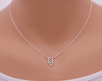 SALE! Ines arrow sign silver plated necklace feminine chic jewelry minimalist triangle