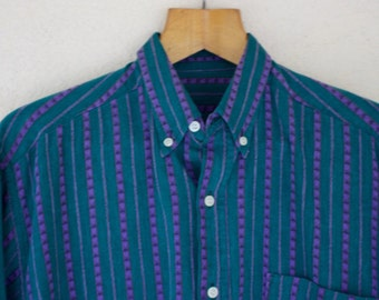 Long Sleeved Green And Purple Shirt - Size Small //SALE//