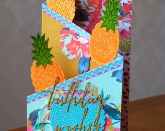 Handmade Tri Fold Tropical Pineapple Birthday Card