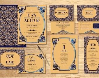 Pack imprimable faire-part mariage Art Deco Aquarelle - Pack printable wedding invitation Art Deco Watercolor
