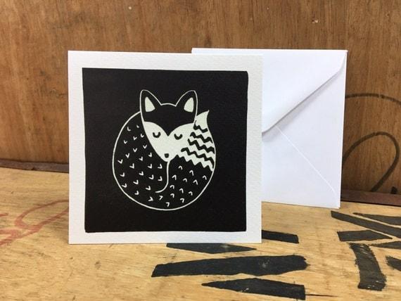 Fox Card • Sleeping Fox • Fox Lino Print • Fox Art • Fox Greeting Card • Fox Birthday Card • British Wildlife Card • Card For Fox Lovers
