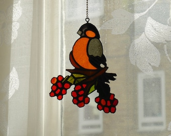 Beautiful Bird and berries Stained Glass /Sun Catcher