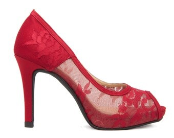 Custom Made Marcella Wine Red Lace Wedding Shoes