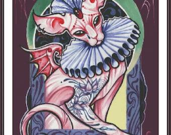 Vampire Cross Stitch | Cat Cross Stitch | Cross Stitch Pattern | Sphynx Cat Stitch | Halloween Stitch | Counted Cross Stitch | Printable PDF