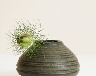 little green vase, handmade, wheel thrown, stoneware clay, glazed