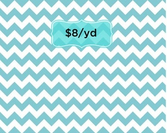 Riley Blake Small Chevron in Aqua. By the 1 yard. Aqua/White Zig zag cotton designer quilting fabric. RBD C340-20