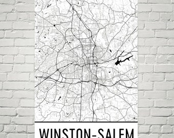 Winston Salem Map, Winston Salem Art, Winston Salem Print, Winston Salem NC Art Poster, Winston Salem Wall Art, Gift, Decor, Art