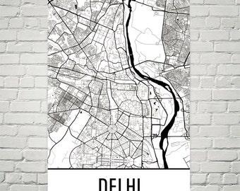 Delhi Map, Delhi Art, Delhi Print, Delhi India Poster, Delhi Wall Art, Delhi Gift, Delhi Poster, Delhi Decor, Delhi Map Art, Delhi Art Print