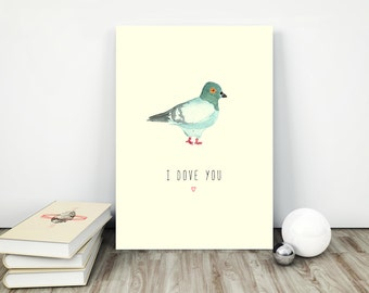 Flat decor Interior poster Digital watercolor painting Watercolor download art Bird watercolor poster Best poster I dove you Valentine decor