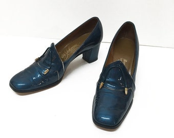 Blue Sheen Loafers