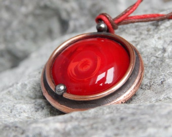 Copper pendant Red magic pendant Steampunk pendant Best gift For her Stained glass Wedding anniversary Unique gift For women Vintage jewelry