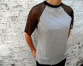 Grey Mesh Arm Raglan T-Shirt