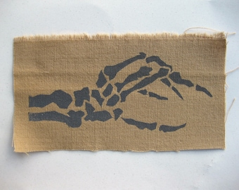 Skeleton Hand printed patch - handmade ecofashion