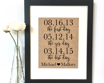The first day the yes day the best day Wedding Burlap Print // Personalized Gift // Wedding Gift // Personalized Wedding Gift