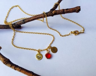 Initial Necklace with Birthstone Charm