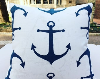 Nautical Anchor Pillow 16x16 (White and Blue)