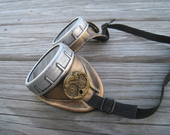 Steampunk Goggles with key necklace- Burning man accessories