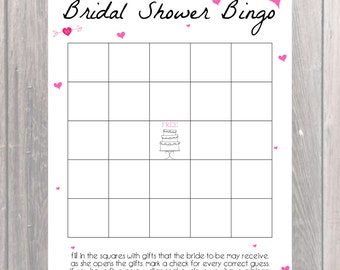 Bridal Shower Bingo Game Card/Custom Bridal Shower Game